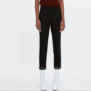 Zara black cropped pants with lace hem sz medium